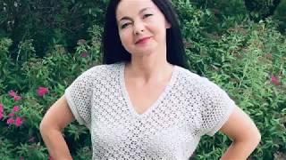 Женская футболка  крючком//Оверсайз//Мастер класс.
