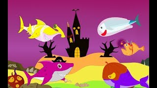 Baby Shark Dance With Vampire, Mummy and Friends |  Ten Little Baby Fishes Halloween Version 2