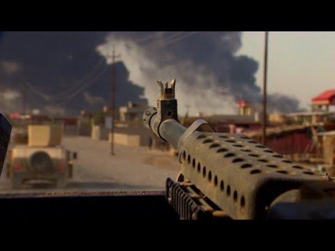 ISIS fighters blacken sky, retreat