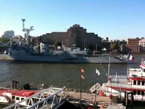 French frigate through Tower bridge