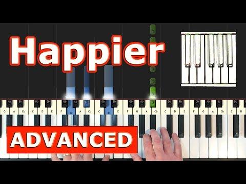 Marshmello ft. Bastille - Happier - Piano Tutorial Easy - Sheet Music (Synthesia)