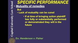 Remedies Video Lecture 8 - Specific Performance
