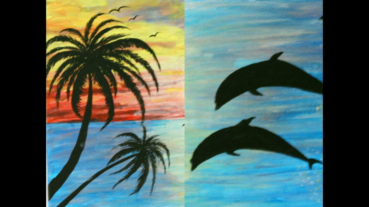 How To Paint Dolphins And Palm Trees Acrylics On Canvas