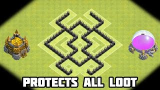 Clash of Clans TH5 DEFENSE STRATEGY BEST CoC Town Hall 5 FARMING Layout (Anti Giant Healer) 2015