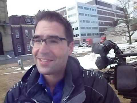Journalist Tino Makris from Global Maritimes is interviewed by the Blogger at the Legislature