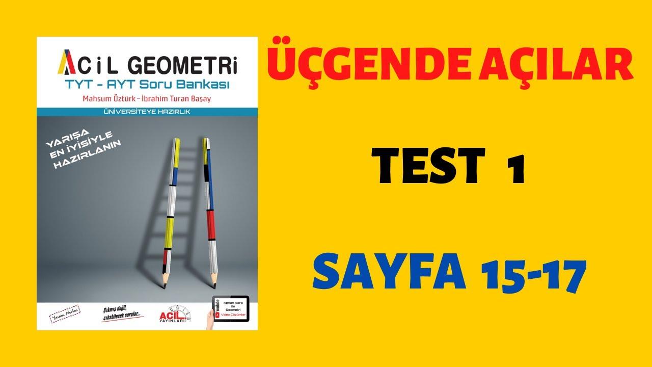 Üçgende Açılar-Test 1 (ACİL GEOMETRİ)