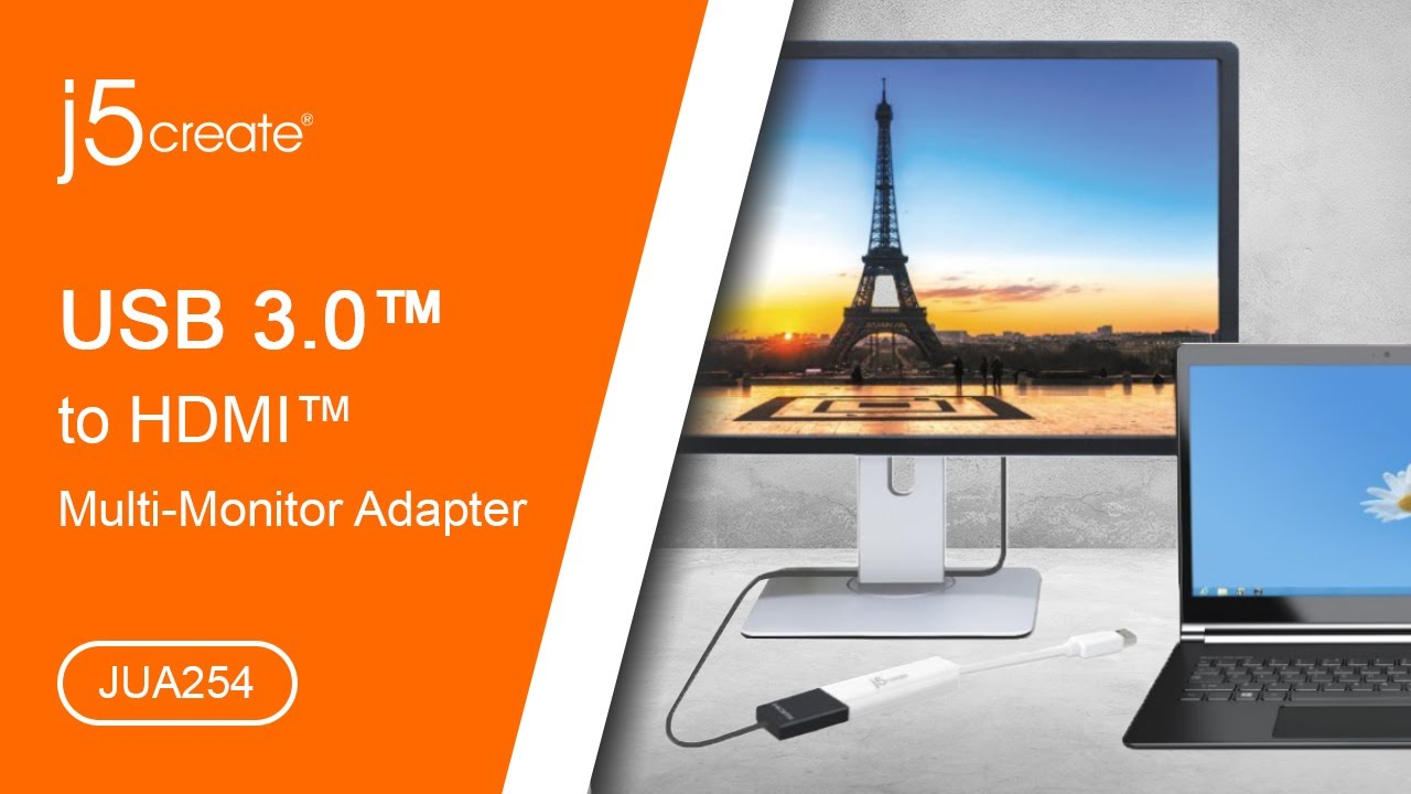 j5create® USB™ to HDMI™ Multi-Monitor Adapter JUA254 - YouTube