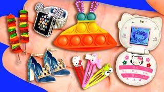 33 EASY MINIATURE CRAFTS IDEAS FOR DOLLHOUSE BARBIE ~ Pop It Dress, High Heels, Smart Watch