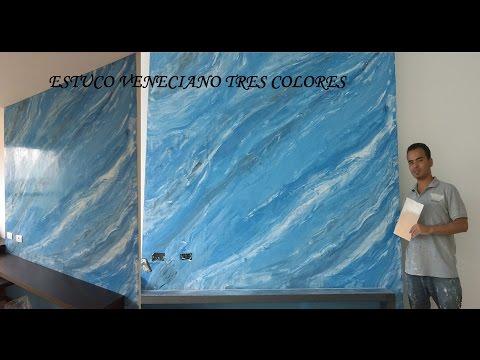 Como aplicar estuco veneciano a tres colores (marmolizado) venetian plaster.  S3R