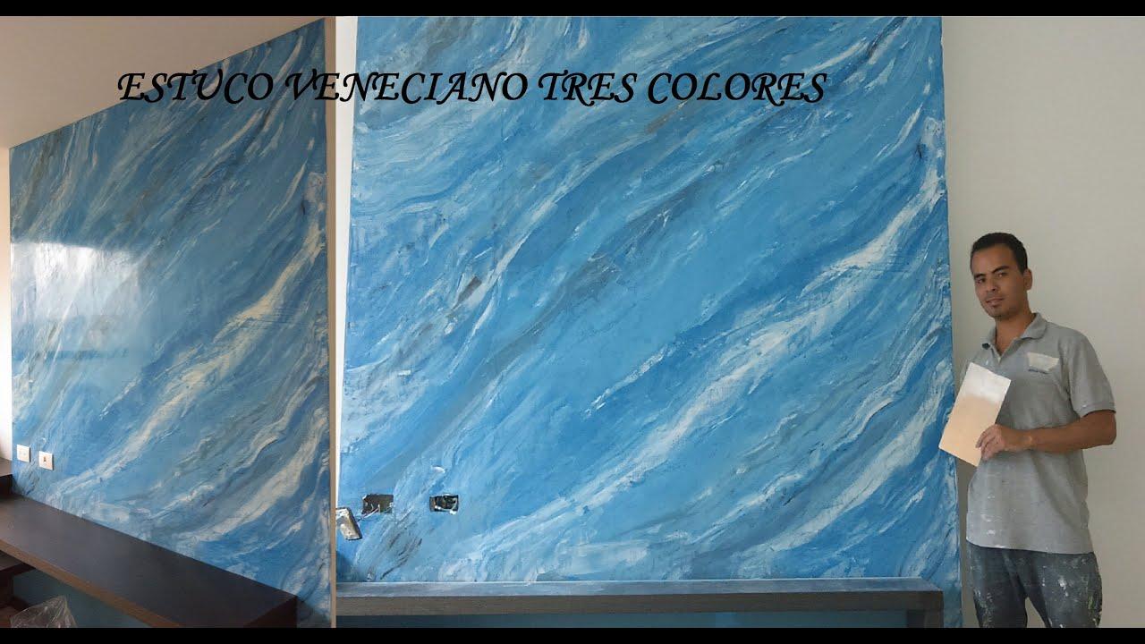 Como aplicar estuco veneciano a tres colores marmolizado - Pintura azul turquesa ...