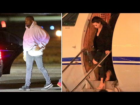 Kim Kardashian And Kanye West Return On Private Jet From Cuba