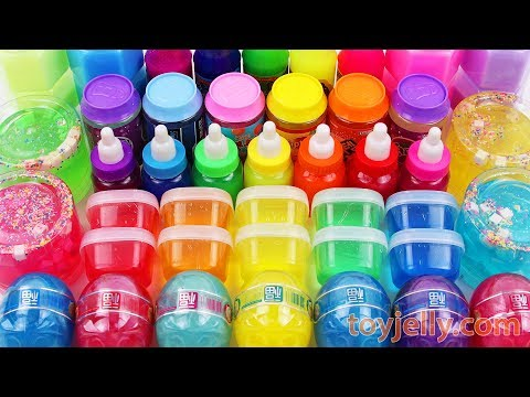 Mixing All My Slime Smoothie Learn Colors Rainbow Jelly Cheese Slime & Kinder Surprise Eggs for Kids