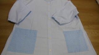 Yシャツを リメイクして、スモックが出来ます。小学生くらいの 子供にピ...
