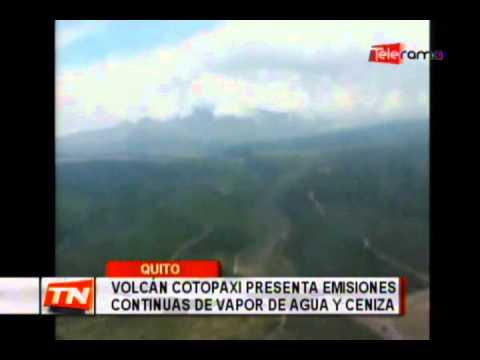 Volcán Cotopaxi presenta emisiones continuas de vapor de agua y ceniza