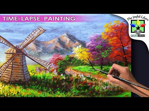 LANDSCAPE PAINTING TUTORIAL with WINDMILL during Fall for beginners | BASIC ACRYLIC ART LESSON