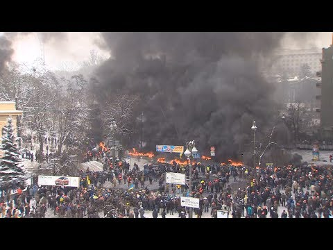 Kiev war zone: Mass riots in Ukraine on January 22