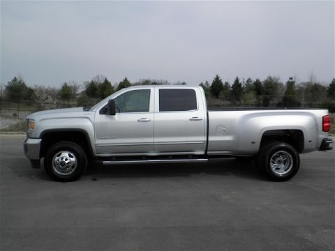 sold.2015 GMC 3500 HD CREW CAB DUALLY SLT 4X4 SILVER ...