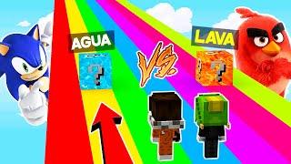 DESAFIO DE LOS LUCKY BLOCKS DE LAVA VS AGUA 😱 CARRERA LUCKY BLOCK ROJO VS AZUL