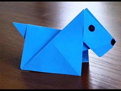 Оригами собака простая