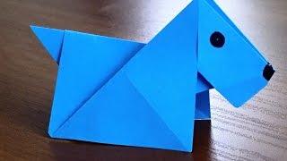 Оригами собачка из бумаги своими руками  Собака из бумаги. Origami dog