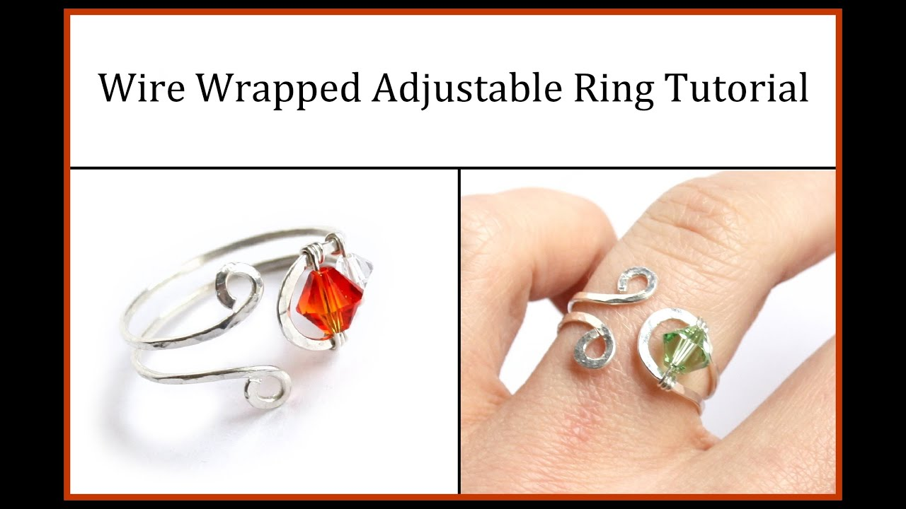 Easy Jewelry Tutorial : Wire Wrapped Adjustable Ring with Crystals ...