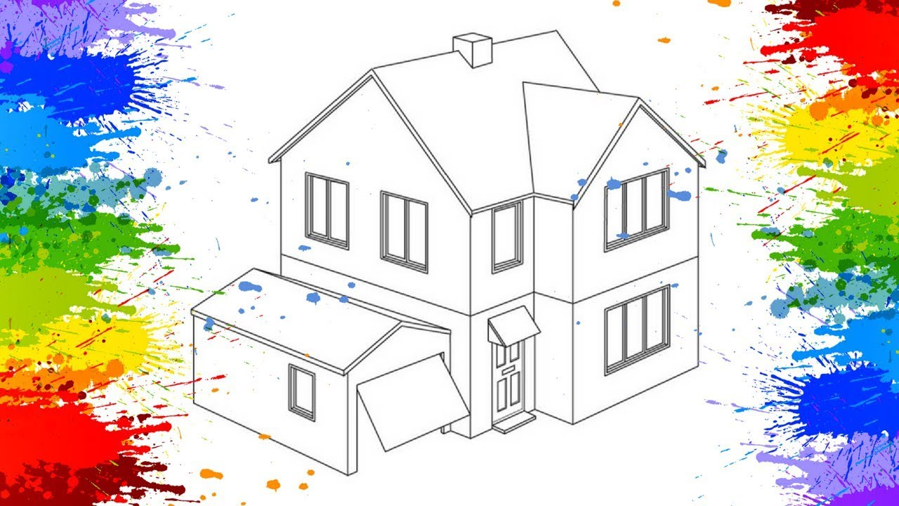 Draw A Dream House Colorscorner Drawing For Kids Color Page