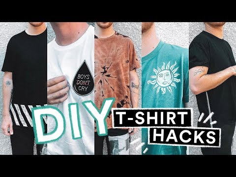 5 DIY T-SHIRT HACKS 👕Transform Your Old Shirts (NO SEW + SUPER EASY) // Imdrewscott