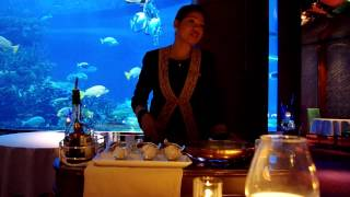 Making Crapes Suzette at the Al Mahara Restaurant - Burj Al Arab Hotel