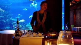 Making Crapes Suzette at the Al Mahara Restaurant - Burj Al Arab Hotel