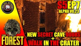 The Forest - Secret Cave Area, New Metal Doors, Walk Into The Crater - S5EP7 (Alpha 0.23) Gameplay