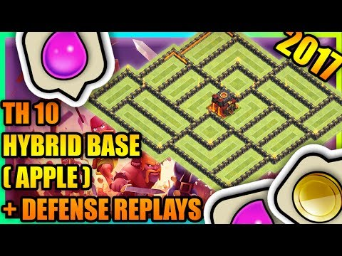 Clash Of Clans - New Town Hall 10 (TH10) Hybrid Base with Defense Replays | ANTI ALL COMBO !! | 2017