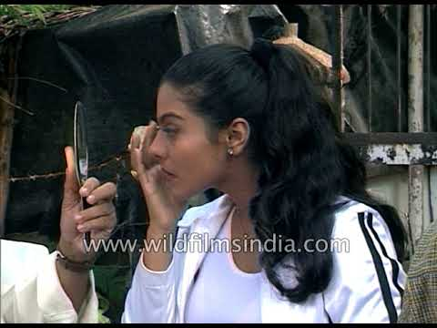 Kajol checks make-up and shoots with Bollywood actor Atul Agnihotri