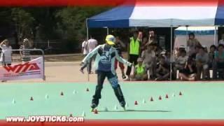 Amazing girl Slalom on Rollers