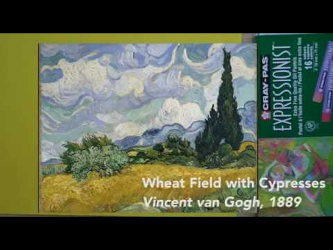 How to draw Van Gogh's Wheat Field with Cypress with Oil Pastels
