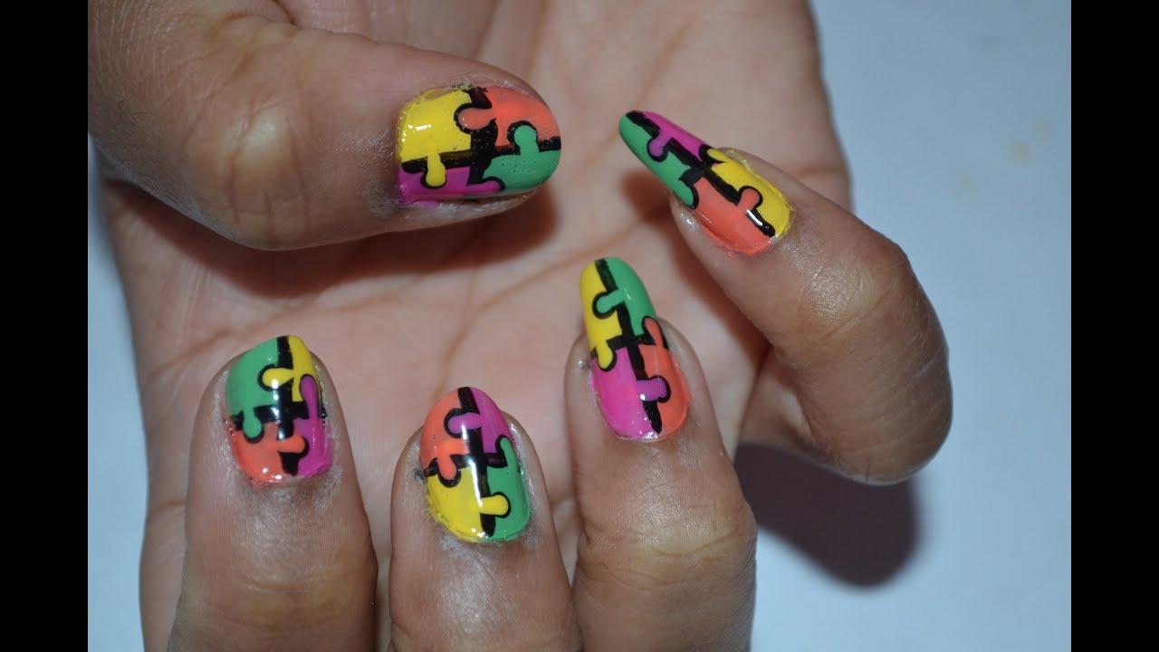 Puzzle Nail Art Tutorial: Manicure Monday - YouTube