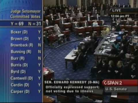 Roll Call Vote for Sonia Sotomayor Confirmation