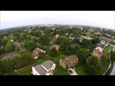 An aerial tour around Burke Court in Naperville, IL