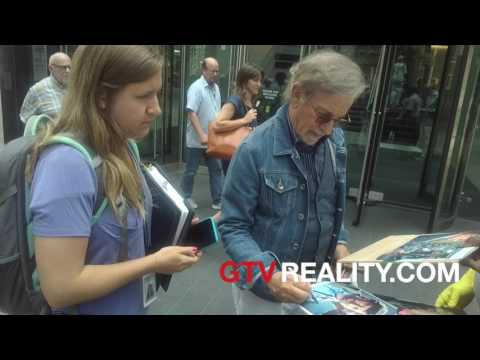 Steven Spielberg with fans on movie set on GTV Reality