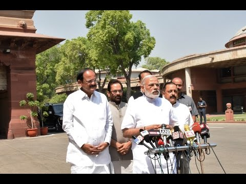 PM Modi speaks to the media on the 1st day of second part of Budget Session 2016