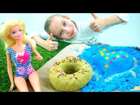 Кто выиграл #конкурс Замки из песка: #Барби или Тереза? Игры для девочек в #куклы Кинетический песок