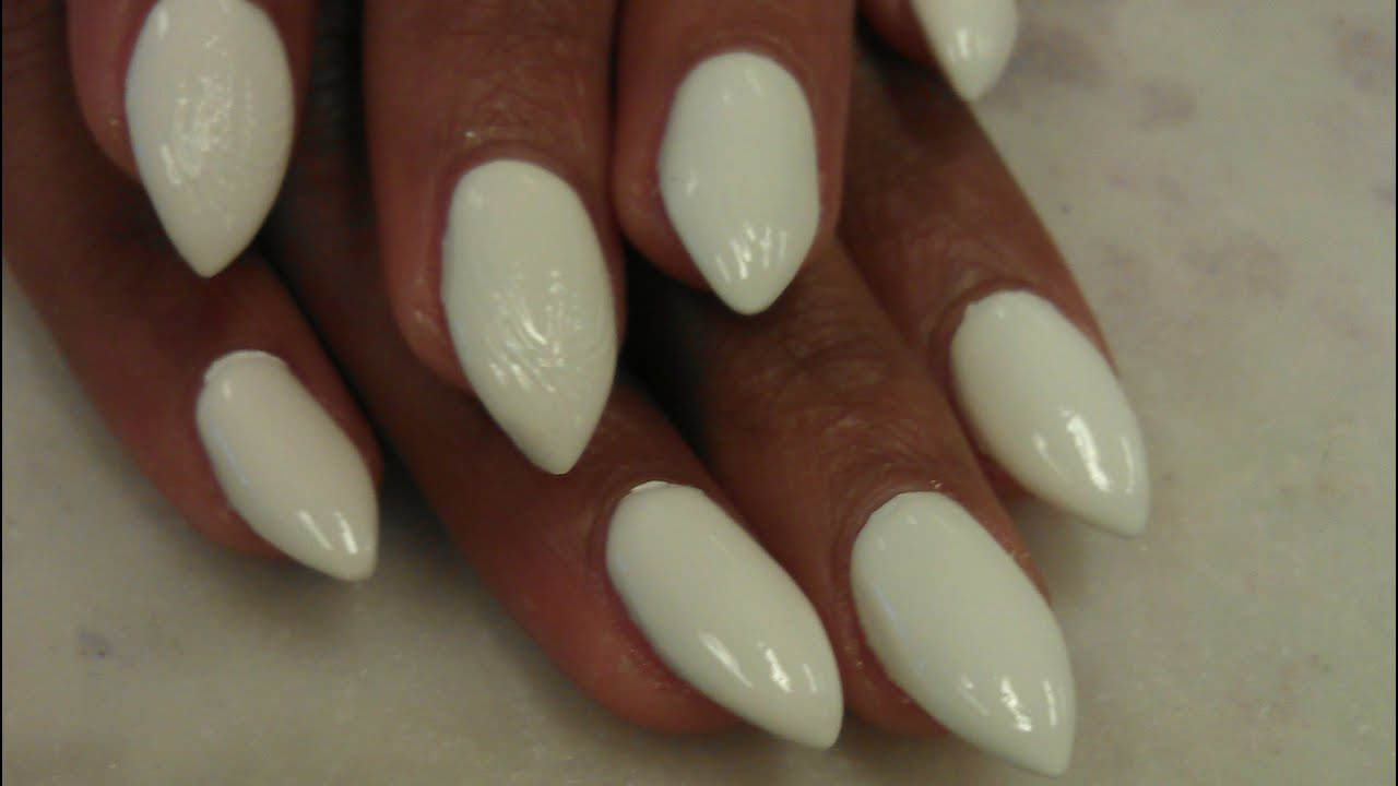 HOW TO SIMPLE SHORT STILETTO WHITE ACRYLIC NAILS - YouTube