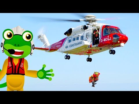 Gecko Rescue Helicopter | Learn Machines and Vehicles for Kids with Gecko's Real Vehicles
