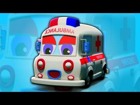 ambulans menggunakan | Anak-anak mobil mainan | belajar kendaraan | 3D Cartoon | Ambulance