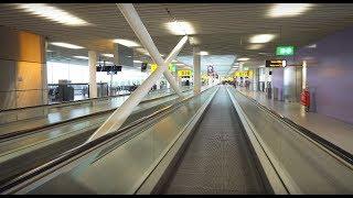 Netherlands, Schiphol Airport, walking around, 7X elevator , 23X moving sidewalk, 2X escalator