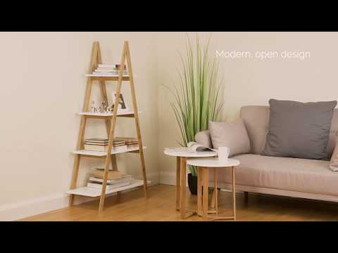 Hartleys Direct 4 Tier White & Bamboo Bookcase