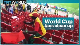 Senegal and Japan fans praised on social media for cleaning stadium