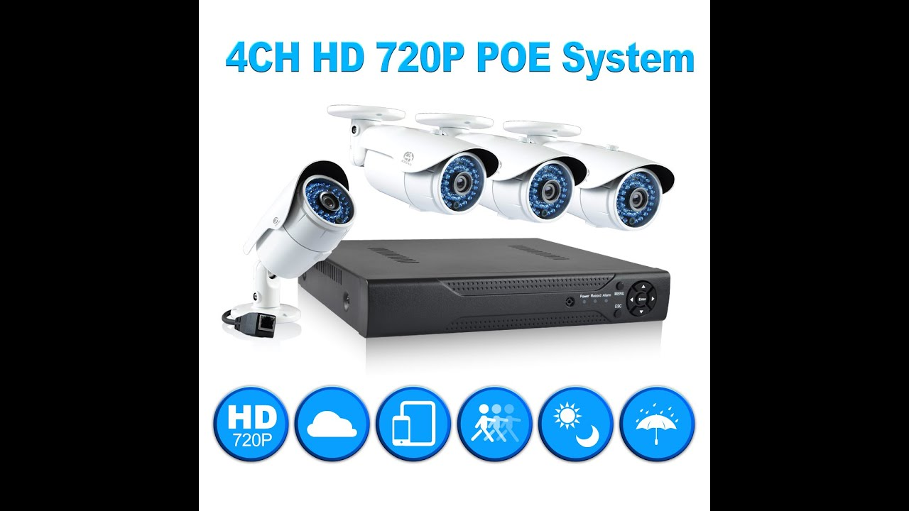 JOOAN 4CH 720P POE Security Camera System Installation and Remote ...