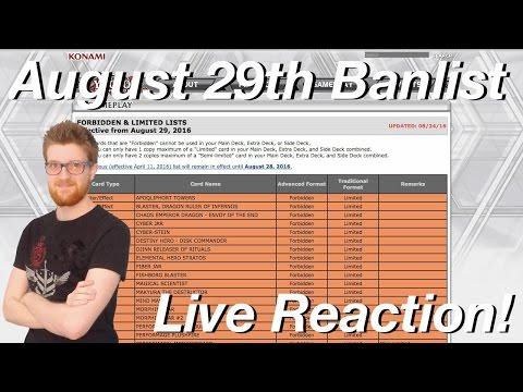 Yu-Gi-Oh! August 29th, 2016 Live Banlist Reveal & Reaction! #DicksOutForTheBanlist