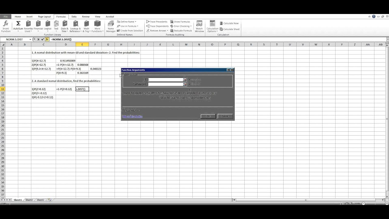 How To Use Excel To Calculate Probability In Normal Distribution  Youtube