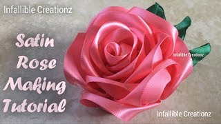Satin Ribbon Rose | How to make satin ribbon rose | Satin Ribbon Fl...